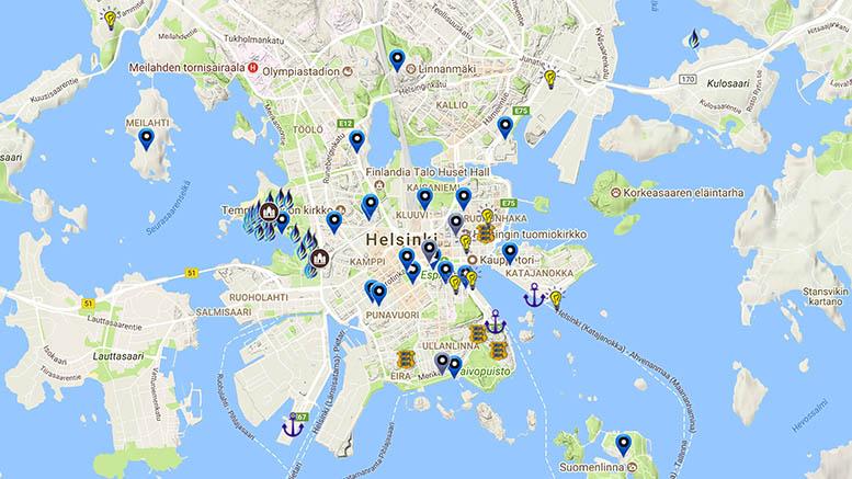 Helsinki on virolainen. | Sinimustvalge Helsingi kaart