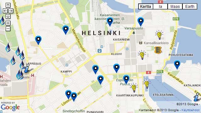 Sinimustvalge Helsingi turismikaart
