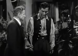 Ivan Triesault as Gestapo major Reimann with Ray Milland and Marlene Dietrich,, Golden Earrings (1947)