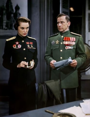 Ivan Triesault as Soviet general with Janet Leigh, Jet Pilot (1957)