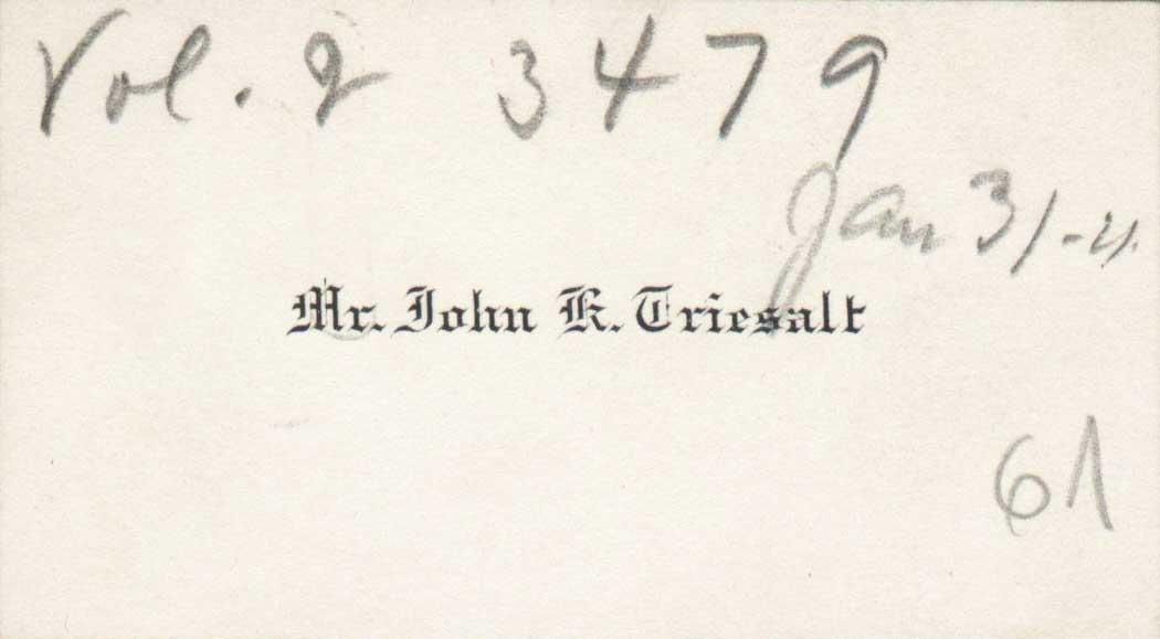 John Triesalti visiitkaart 1923