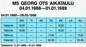 Georg Otsin aikataulu 1988