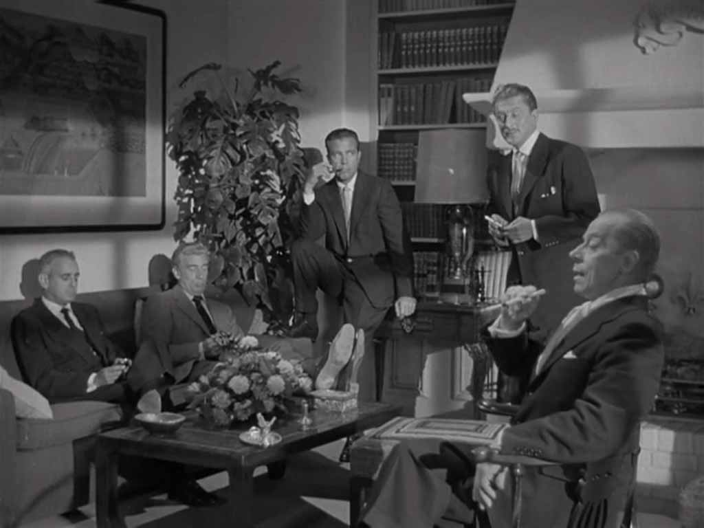 Ivan Triesault as Von Ellstein with Kirk Douglas, Dick Powell, Walter Pidgeon and Paul Stewart, The Bad and the Beautiful (1952)
