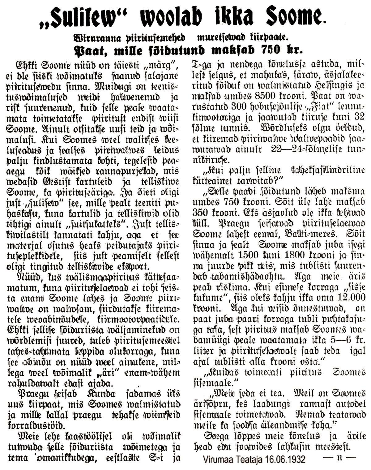 Soliseva virtaa yhä Suomeen – Virumaa Teataja 16.6.1932