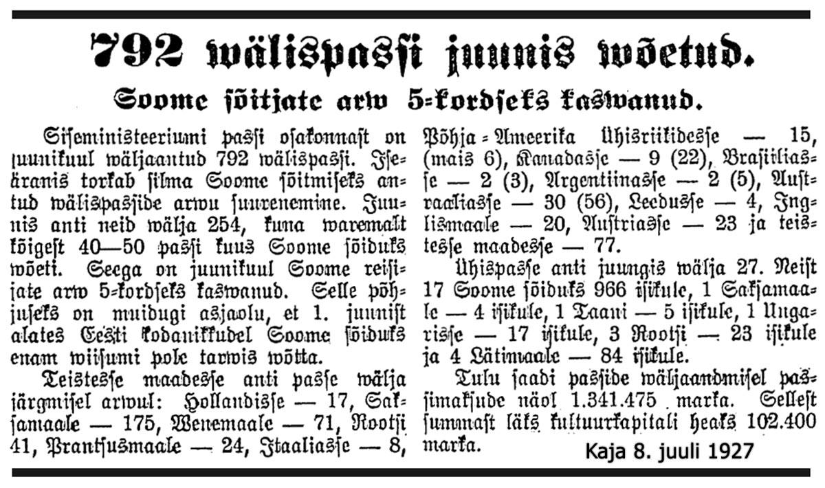 Suomeen matkustavien määrä viisinkertaistui kesäkuussa 1927