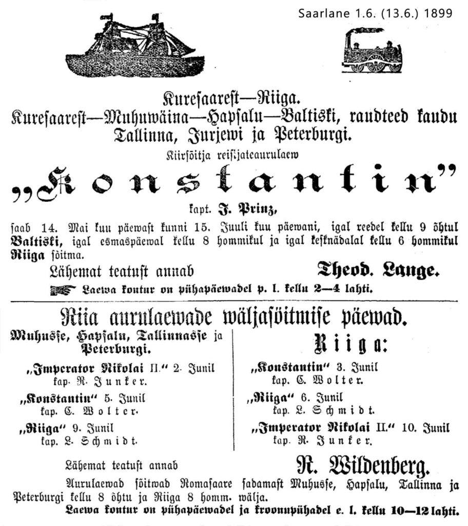 Riika-Kuressaare-Pietari 1899