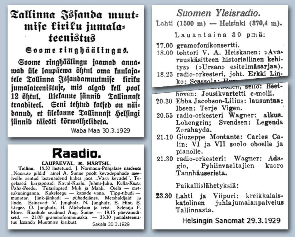 Yleisradion ensimmäinen kansainvälinen yhteislähetys 30.3.1929