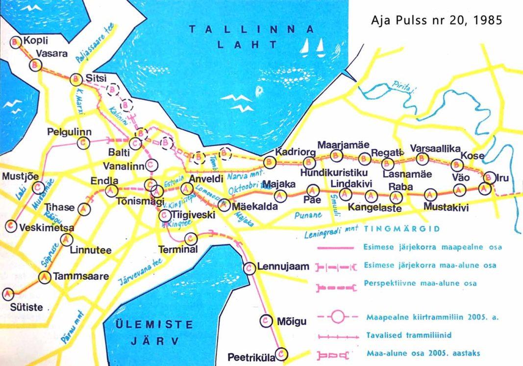 Tallinnan pikaraitioteiden suunitelma 1983