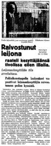 Leijonakesyttäjän onnettomuus Helsingin talvitivolissa joulukuussa 1934
