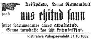 Ristirahva Pühapäevaleht 31.10.1882
