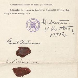 Pöytäkirja Viron tasavallan Helsingin-lähetystön sulkemisesta 6.8.1940