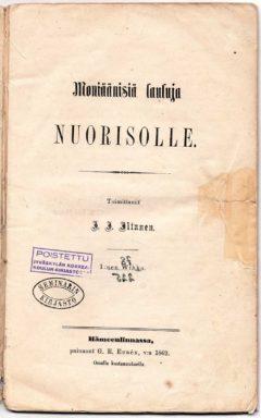 I. I. Iltanen, Moniäänisiä lauluja Nuorisolle, 1862