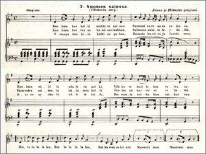 """""""Kansansävel"""" Suomen salossa F. W. Illbergin kokoelmassa, sovitus K. J. Moberg 1867"""