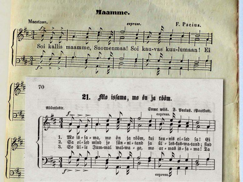 Isak Johan Inbergin sovittaman Maamme-laulun (1862) ja Viron 1. laulujuhlien Mu isamaa, mu õnn ja rõõm -laulun (1869) nuottivertailu