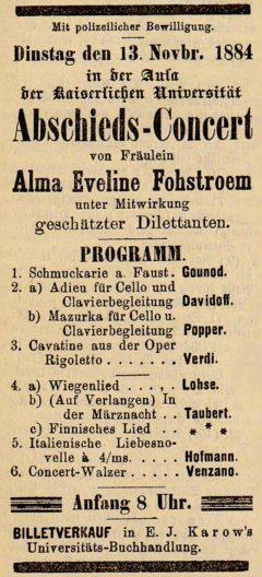 Concert in der Aula 13.11.1884