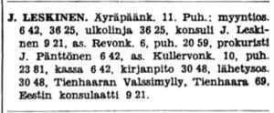Tukkuliike J. Leskinen, Viron konsulaatti, Viipurin puhelinluettelo 1939