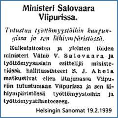 """""""Ministeri matkusti eilen iltajunassa Viipuriin"""", Helsingin Sanomat 19.2.1939."""