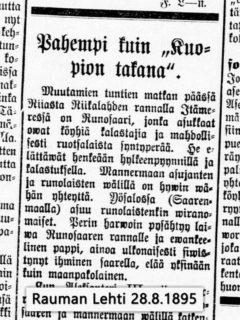 """Pahempi kuin """"Kuopion takana"""", Rauman Lehti 28.8.1895"""