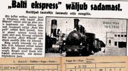 Balti Ekspress suoraan Tallinnan satamasta Berliiniin ja Varsovaan, Waba Maa 16.5.1936