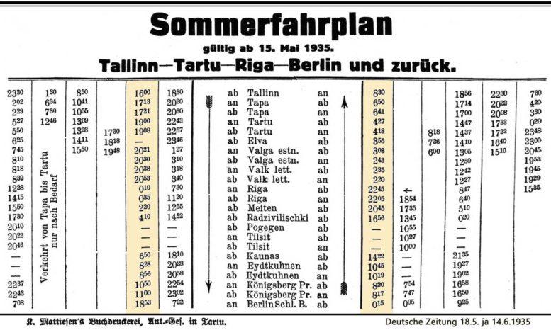 Tallinn–Tartu–Riga–Berlin Summerfahrplan 1935