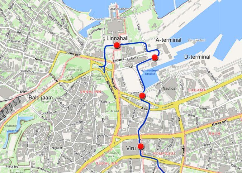 Tallinnan matkustajasataman raitiotien linjaus 2023
