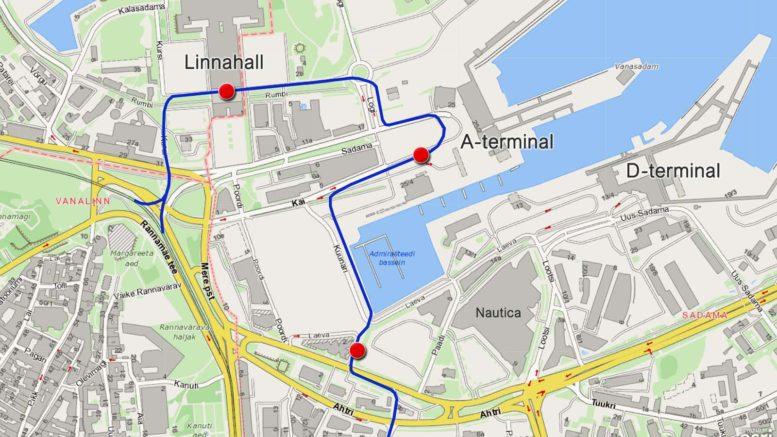 Raitiotien linjaus Tallinnan satamassa 2023