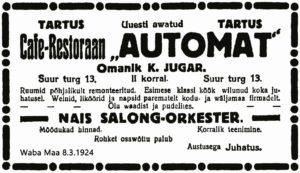 Cafe-Restoraan Automat, Waba Maa 8.3.1924