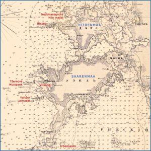 Saarenmaan ja Hiidenmaan rannikot Itämeren ja Riianlahden yleiskartassa 1860