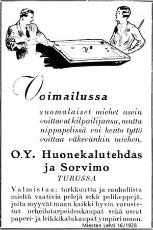Nippapelin (koronan) mainos elokuussa 1928. Huonekalutehdas ja Sorvimo, Turku