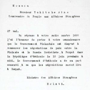 Rudolf Holstin sähkösanoma 27.3.1920