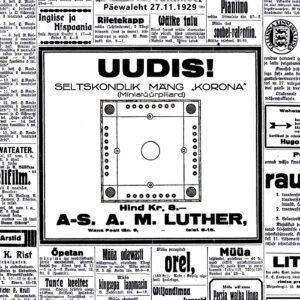 Uutuus! Seurapeli Korona. Lutherin ensimmäinen mainos 27.11.1929