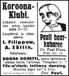 Korona-Klubin – Paul Pinnan baari-kabareen mainos 1930