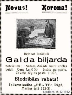 Novus! Korona! Pöytäbiljardi – Stadions, Riika 15.12.1932