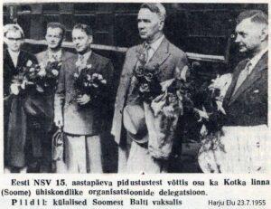 Kotka linna ühiskondlike organisatsioonide delegatsioon Balti vaksalis 20.7.1955