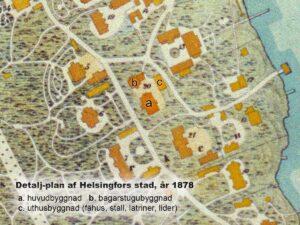 Detalj-plan af Helsingfors stad, Upprättad i öfverensstämmelse med stadens planering och byggnadsart vid ingången af år 1878 af Claës Kjerrström