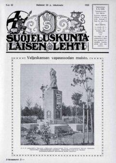 Narvan vapaussodassa kaatuneiden muistomerkki Suojeluskuntajärjestön lehdessä 20.10.1921