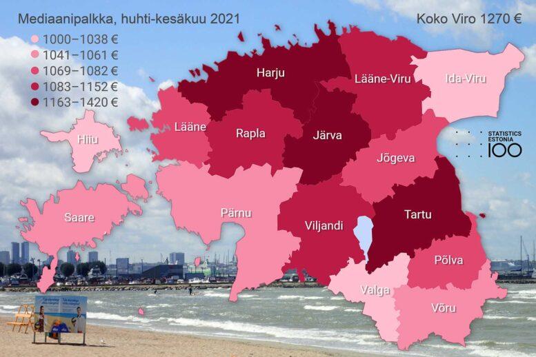 Viron mediaanipalkat maakunnittain huhti-kesäkuussa 2021, Statistikaamet