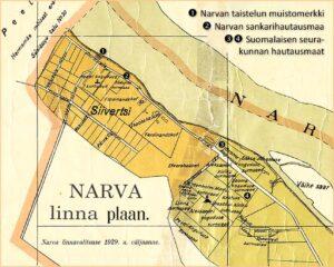 Siivertsin hautausmaat Narvan kartalla 1929 – Siivertsi kalmistud Narva linna plaanil 1929